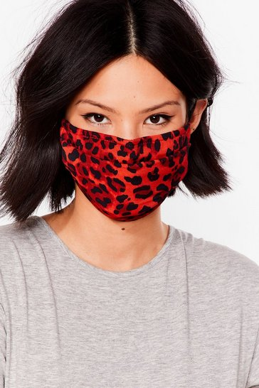 Red Go Wild Leopard Fashion Face Mask