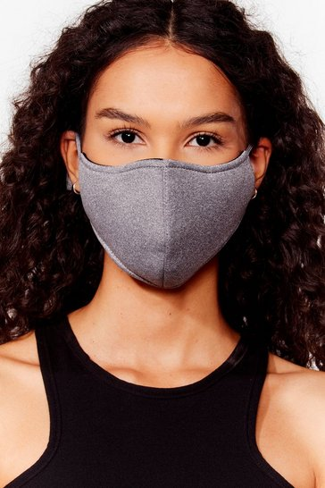 Grey Let's Talk Fashion Face Mask