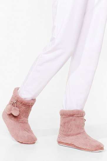 Pink Warm Up Faux Fur Pom Pom Booties