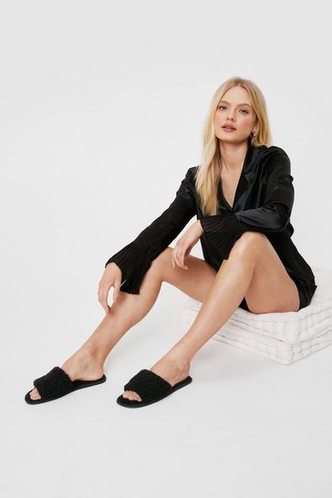 Black Break the Mules Faux Shearling Slippers