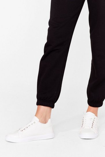 White Call It Quilts Faux Leather Sneakers