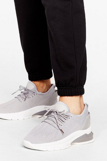 Grey Can You Feel Knit Lace-Up Sneakers