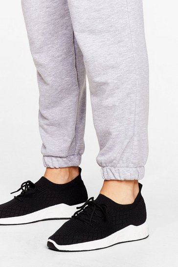 Black Knit the Ground Running Lace-Up Trainers
