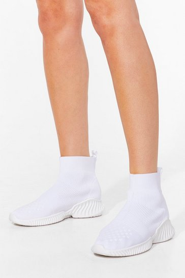 White Make a Run for Knit High Top Sock Trainers