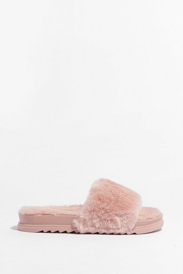 Pink Total Softy Faux Fur Cleated Sliders