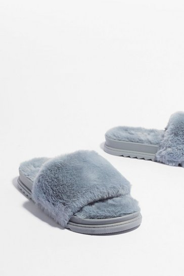 Grey Total Softy Faux Fur Cleated Sliders