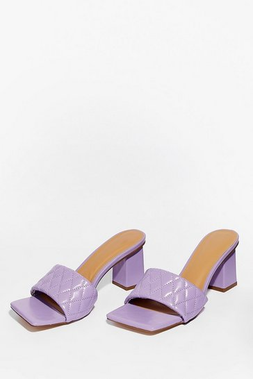 Lilac I Can't Quilt You Faux Leather Heeled Mules