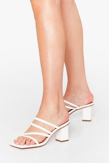 White Strappy You're Here Faux Leather Block Mules