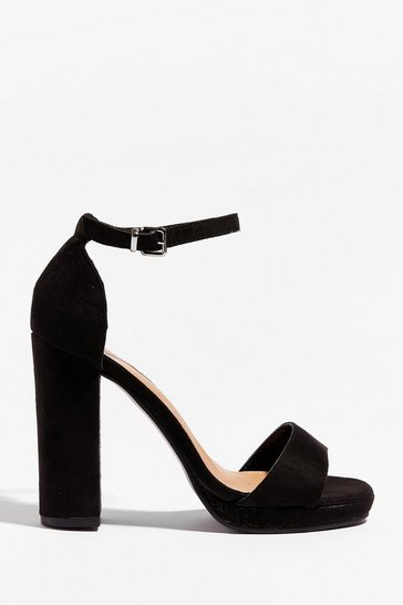 Black Shut Up and Dance Faux Suede Block Heels