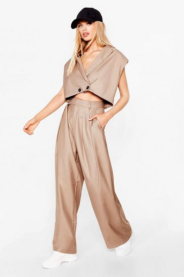 Stone High-Waisted Wide Leg Tailored Trousers