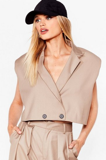 Stone When It Suits You Shoulder Pad Cropped Blazer