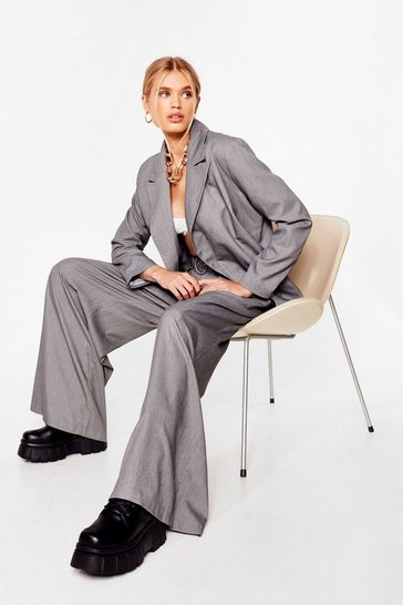 Grey Meeting's Over Belted Wide-Leg Pants