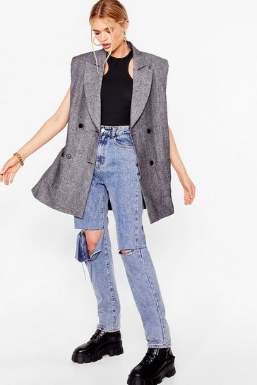 Black Oversized Sleeveless Longline Blazer