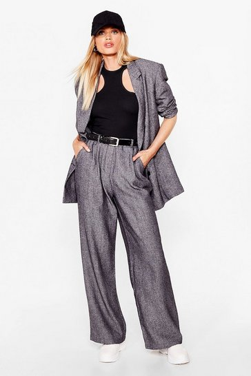 Black Wide-Leg Tailored Suit Pants