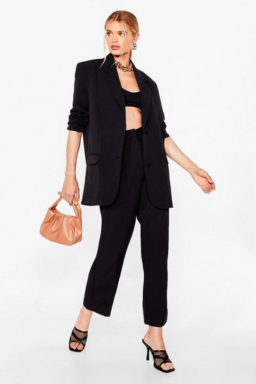 Black Tailored High Waisted Straight-Leg Pants