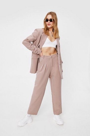 Tan Tailored High Waisted Straight-Leg Pants