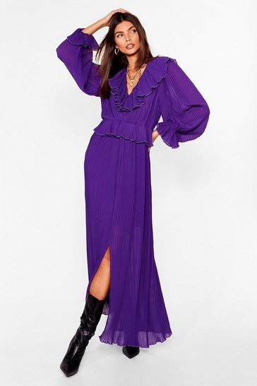 Purple Pleased to Pleat You Ruffle Maxi Dress