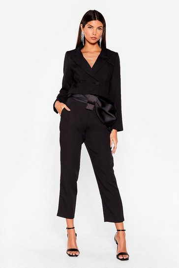 Black Belted Bow Blazer and Pants Set