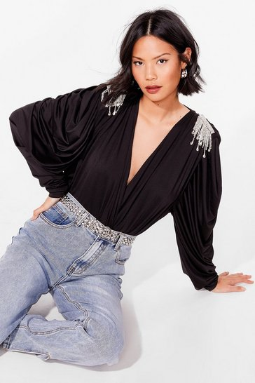 Black Shine is On Our Side Plunging Diamante Blouse