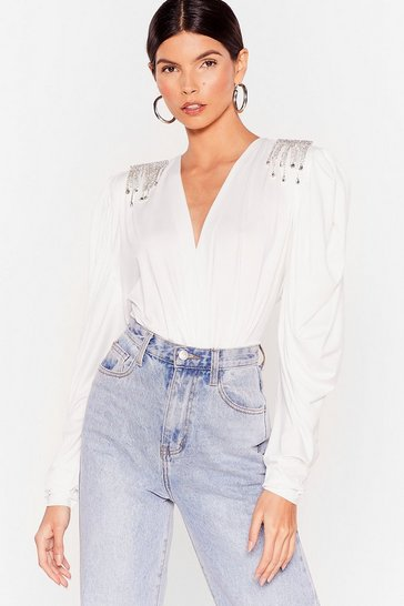 White Shine is On Our Side Plunging Diamante Blouse