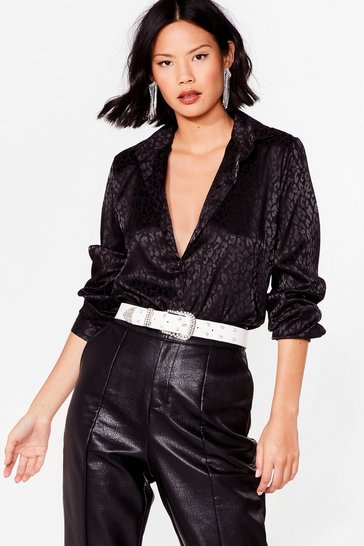 Black Jacquard Leopard Satin V Neck Shirt