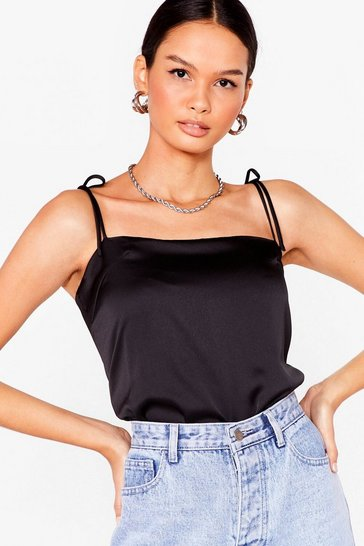 Black Tie Oh Tie Cropped Cami Top