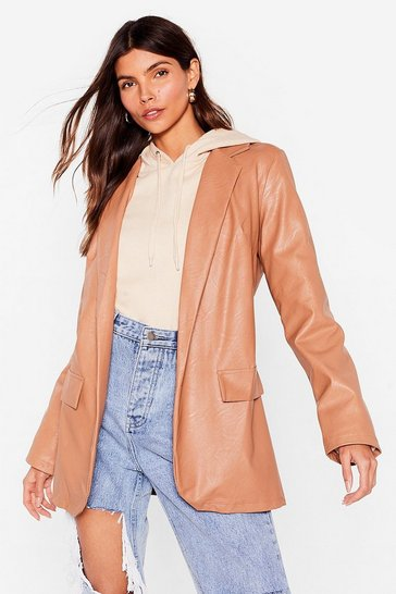 Light brown Faux Leather Open Front Blazer
