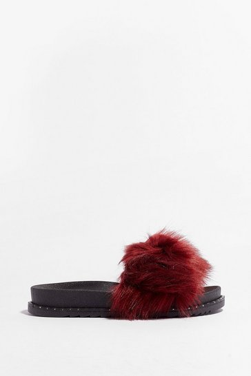 Red Ready Faux Fur Our Close Up Moulded Sliders