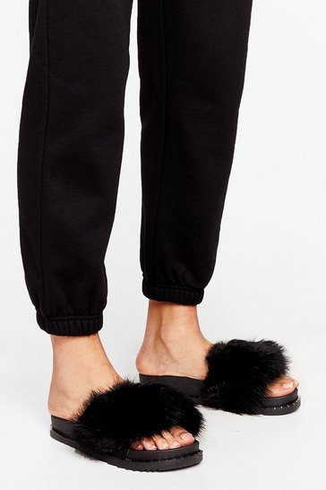 Black Faux Fur Better Together Sliders