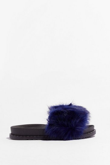 Blue Kinda in a Furry Faux Fur Sliders