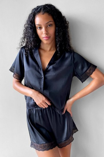 Black Invest in Rest Satin Lace Shirt and Shorts Pajama Set