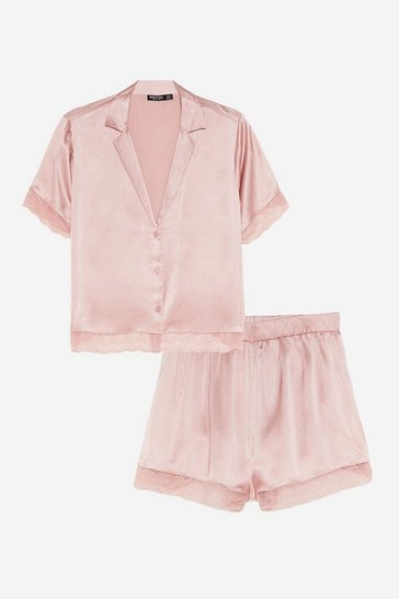 Pink Invest in Rest Satin Shirt and Shorts Pajama Set