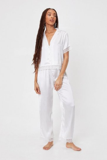 Cream Invest in Rest Satin Lace Pants Pajama Set
