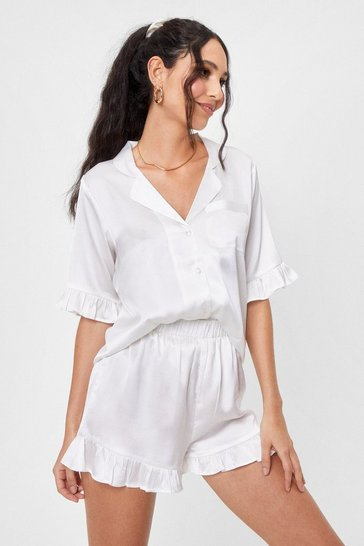 Cream Satin Ruffle Pajama Shirt and Shorts Set