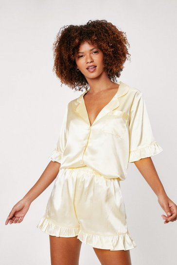 Lemon Satin Ruffle Pajama Shirt and Shorts Set