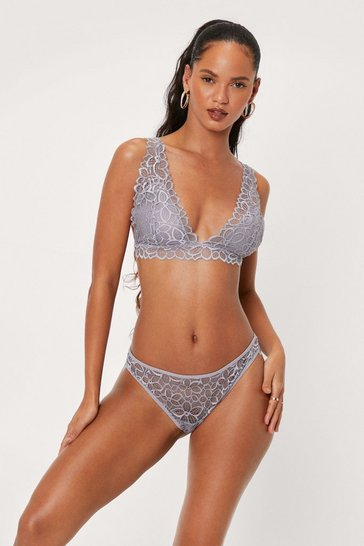 Grey Lace Stick Together Lace Bralette and Panty Set
