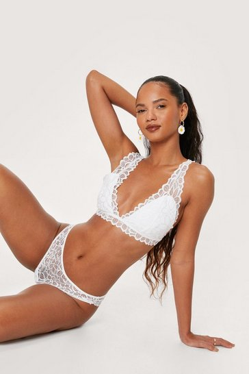 White Lace Triangle Bralette and High Leg Panty Set