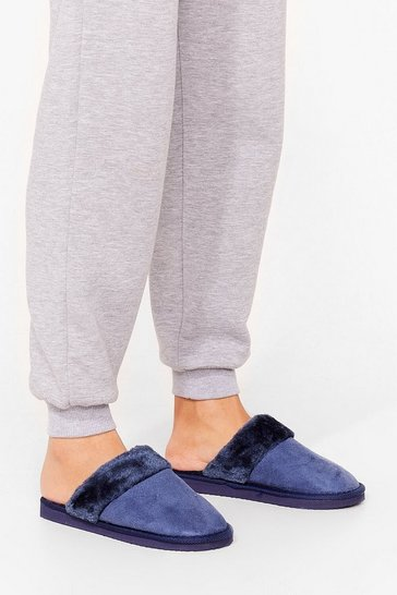 Navy Don't Get Cold Feet Faux Fur Mule Slippers