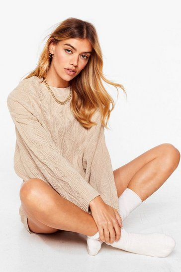 Oatmeal Cable Knit's Complicated Sweater and Shorts Set
