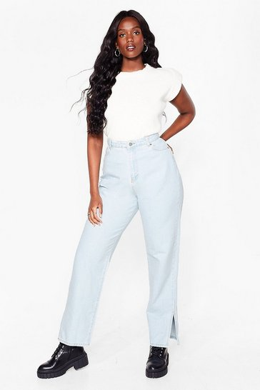 Vintage blue Plus Size Split Hem Straight Leg Jeans