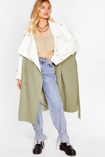 Khaki Two Tone Belted Oversized Trench Coat