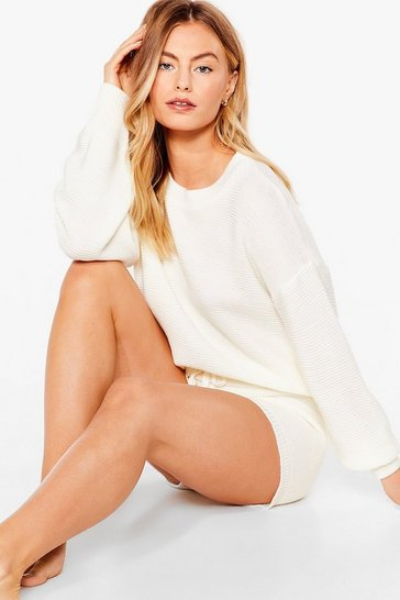 Cream Get on With Knit Sweater and Shorts Set