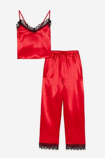 Red Lace Trim Satin Pyjama Trousers Set