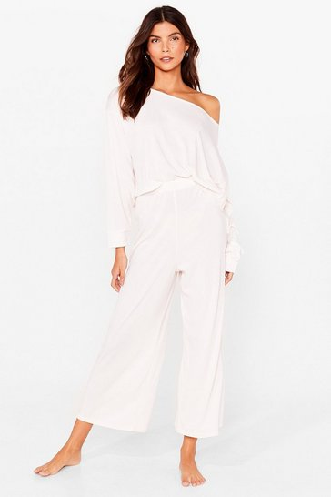 Cream Knit's Better Together Ribbed Pants Lounge Set
