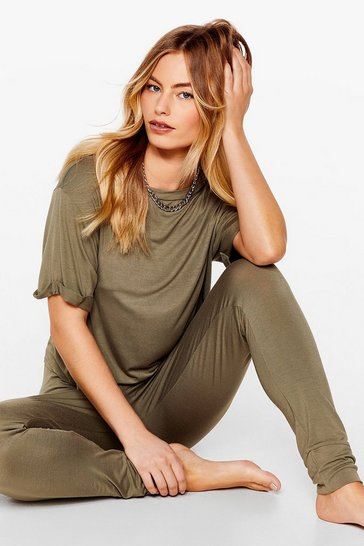 Khaki Back Where Tee Belong Jogger Pajama Set