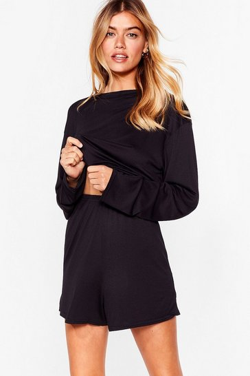 Black Tee Right Back Top and Shorts Pajama Set