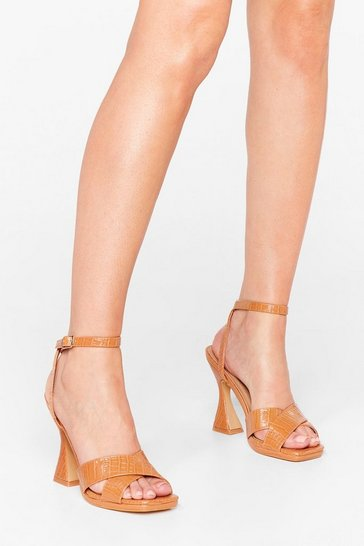 Camel Croc At Nothing Faux Leather Heeled Sandals