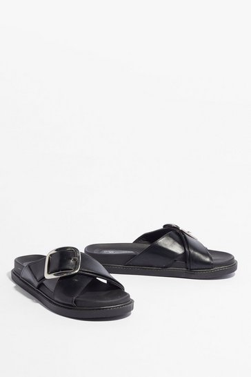 Black At a Cross Roads Faux Leather Buckle Sandals