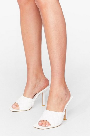 White Quilt While You're Ahead Faux Leather Stiletto Mules