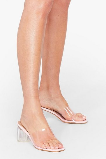 Pink Make It Clear Block Heeled Mules